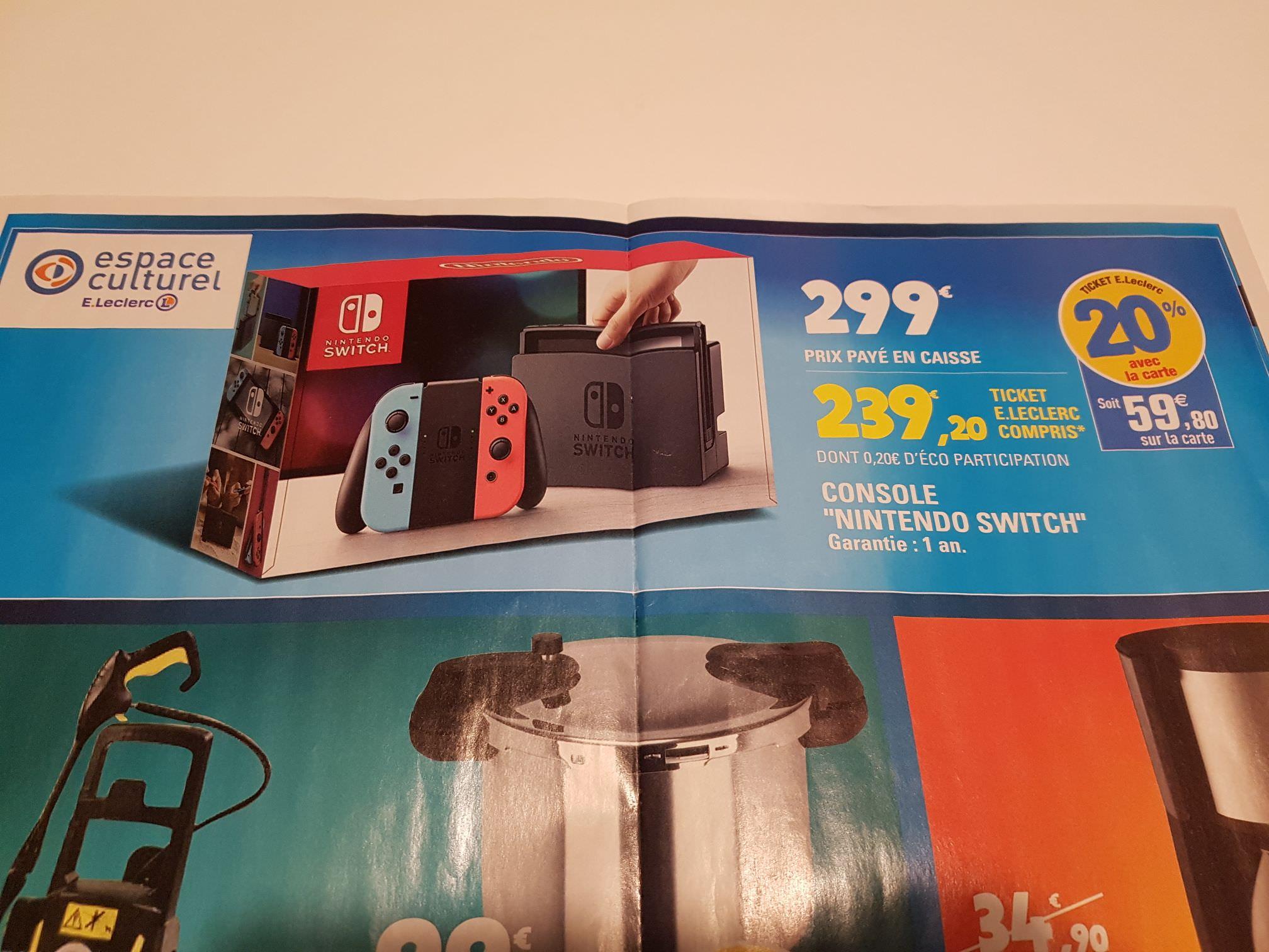 Console Nintendo Switch avec joy-con rouge/bleu (via 59.8€ sur la carte) - Bayeux (14)