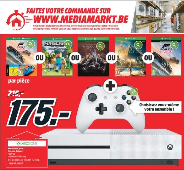 Console Xbox One S + 1 jeu au choix parmi une sélection (Frontaliers Belgique)