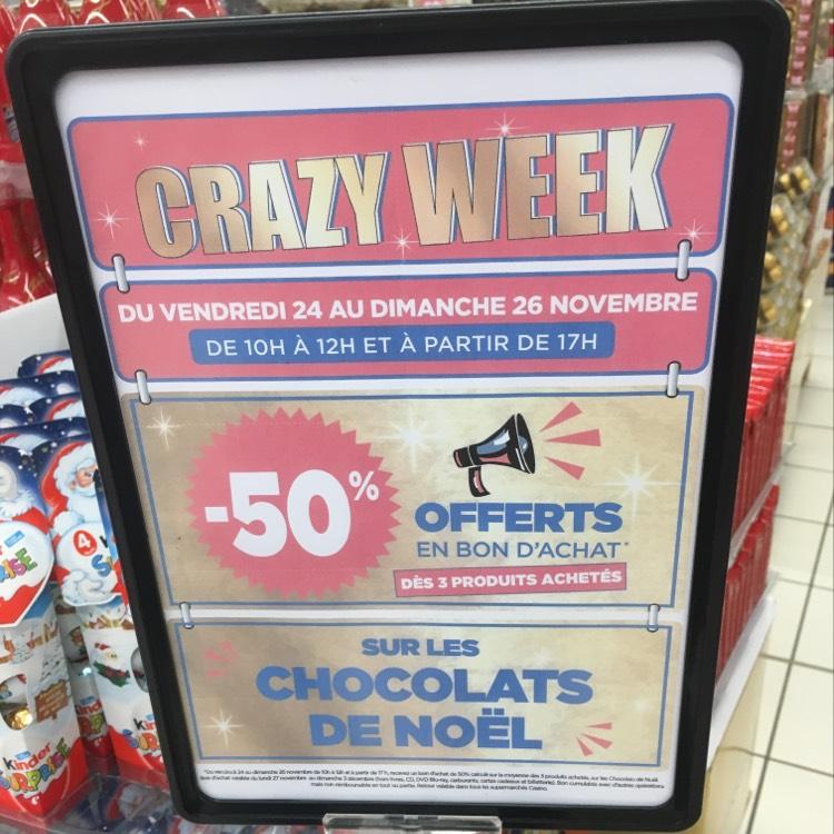 50% remboursés en bon d'achat dès 3 Chocolats de Noël achetés au Casino Megève (74)