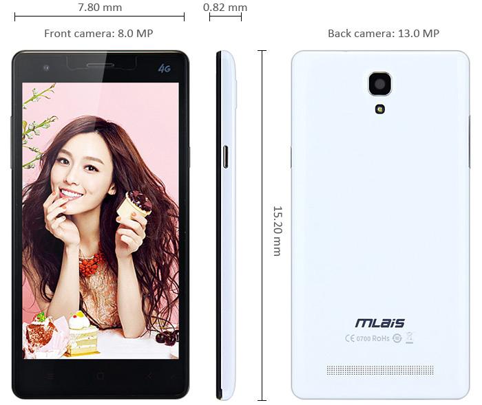 "Smartphone 5.5"" Mlais M52 Red Note 4G (Octa Core 1.7GHz, 2 Go RAM, 16 Go)"