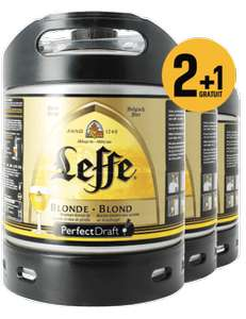 Jusqu'à -50% sur les assortiments, bouteilles, fûts et cadeaux - Ex : Pack 3 fûts 6L Leffe Blonde