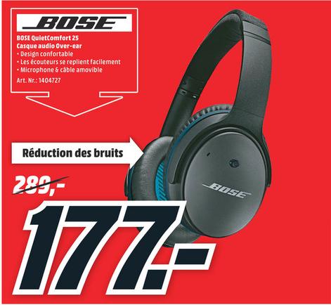 Promotion sur une sélection de produits - Ex: BOSE QuietComfort 25 (715053-0010) (Frontaliers Belgique)