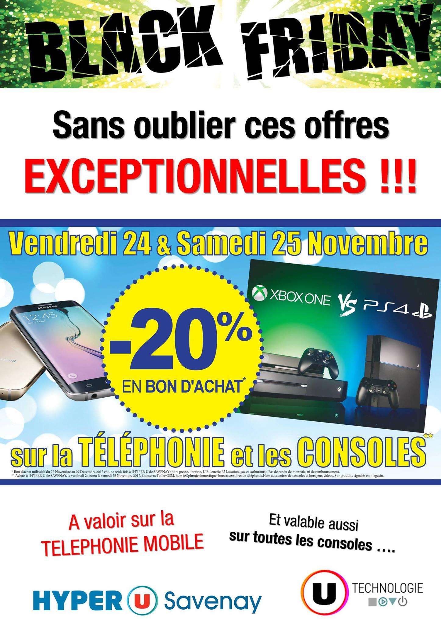 20% offerts en bon d'achat sur les consoles de jeux et la téléphonie - Hyper U Savenay (44)