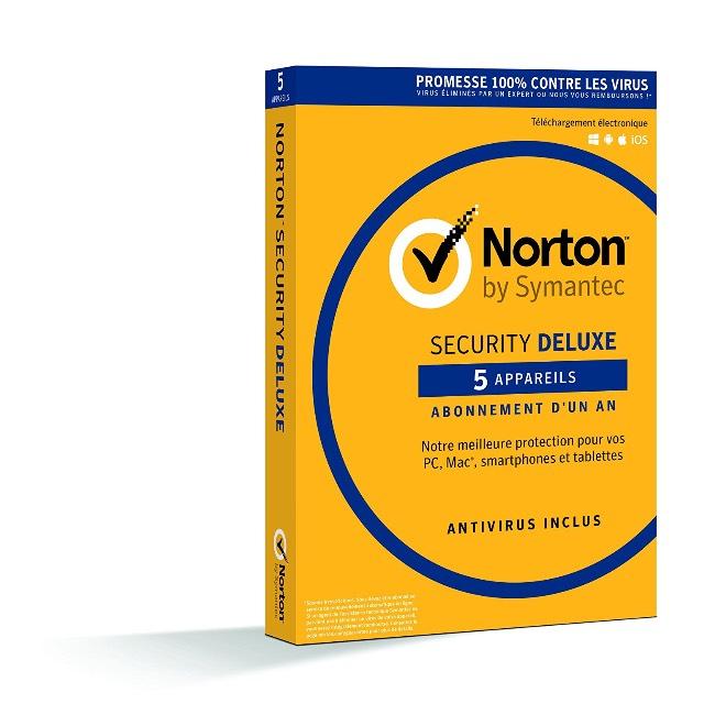 Logiciel Symantec Norton Security Deluxe 2018 - 1 An, 5 Appareils