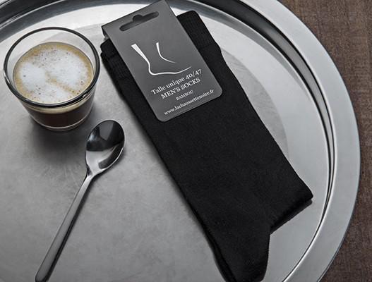 20% de réduction sur les chaussettes unies noires en fibre de bambou