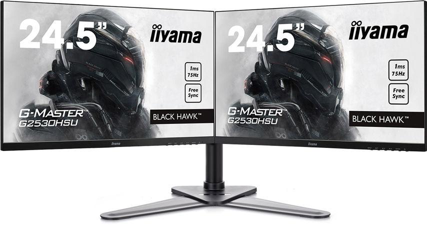 "Lot de 2 écrans PC 24.4"" Iiyama G-Master G2530HSU-B1 (full HD, LED, 1 ms) + support Iiyama DS1002D-B1"