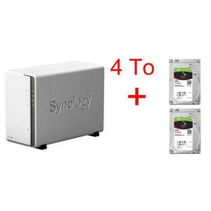 """Serveur NAS Synology DS216J + 2 disques durs internes 3.5"""" Seagate IronWolf 2 To"""