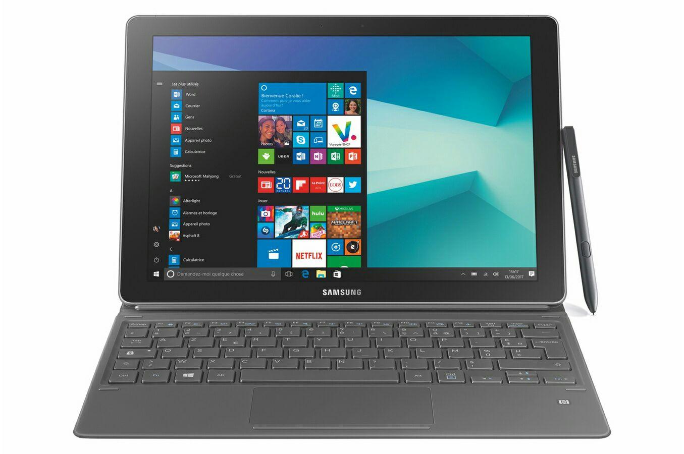 "PC Hybride 2-en-1 12"" Samsung Galaxy Book - Full HD+, i5-7200,  RAM 4 Go, SSD 128 Go, Windows 10 Pro + Google Home Mini (via ODR de 150€)"