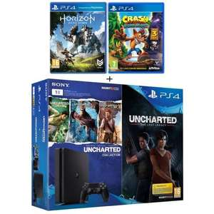 Console PS4 1 To + 6 jeux : Uncharted The Lost Legacy + Uncharted Collection (3 jeux en, 1) + Horizon : Zero Dawn + Crash Bandicoot