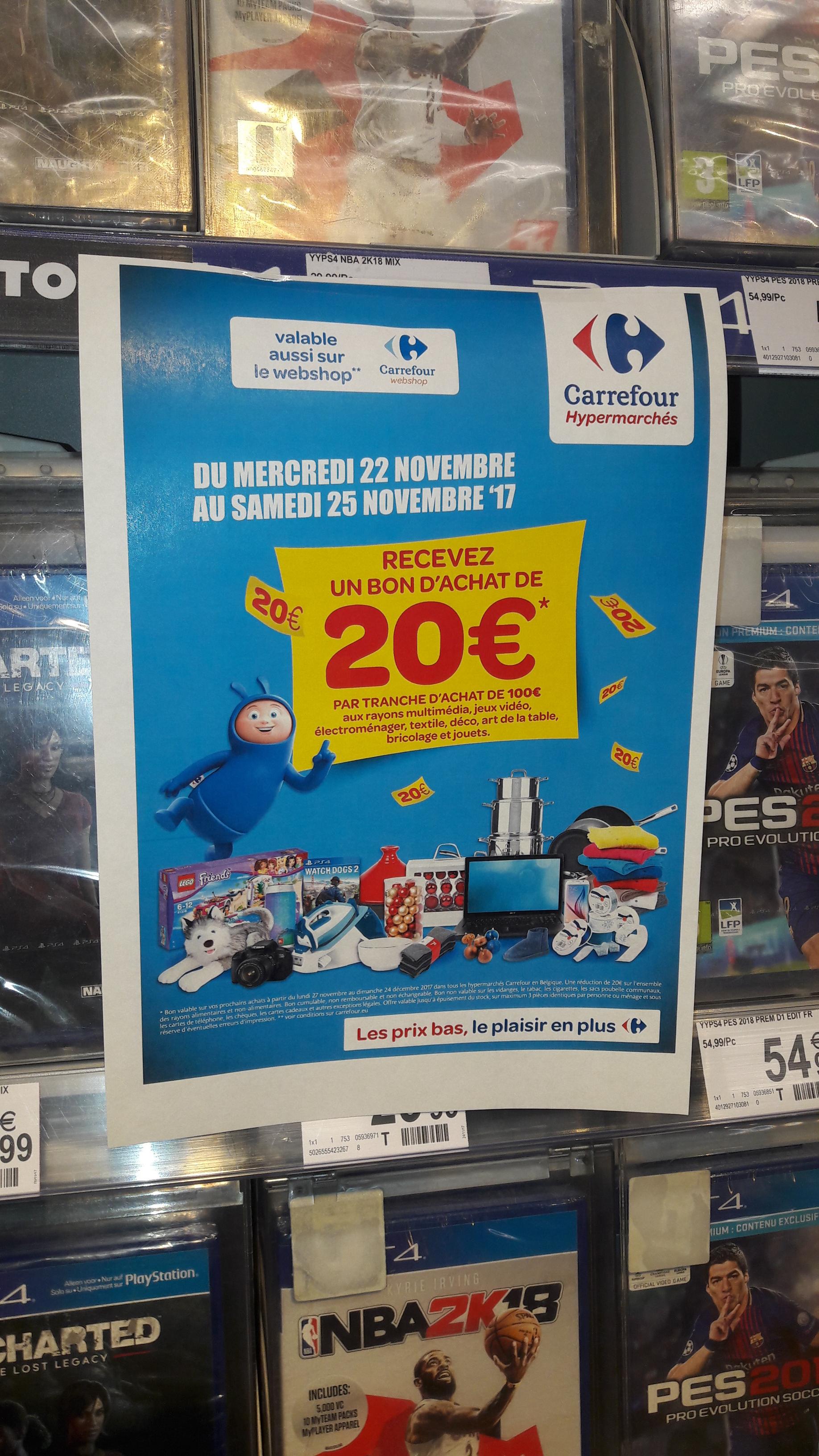 20€ offerts par tranche d'achat de 100€ sur les rayons mutlimédia, jeux-vidéo, électroménager... - Ex : PS4 Slim 1To  + 2 manettes + Fifa 18 à 249€ (Frontaliers Belgique)
