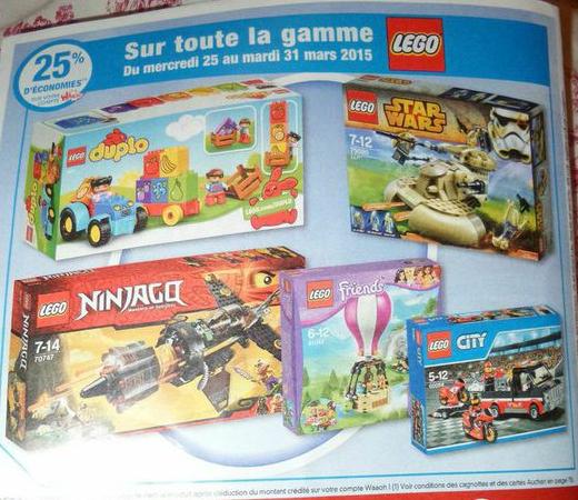 25% crédités sur la carte fidélité Waaoh sur toute la gamme Lego, en ligne et en magasin