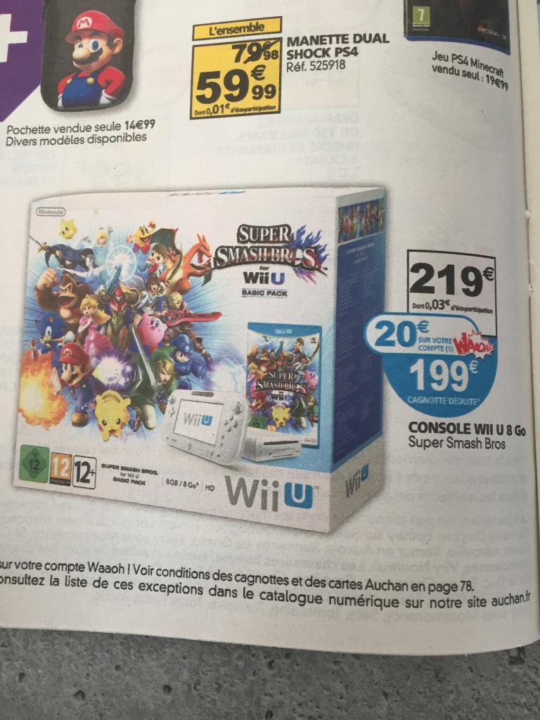 Console Nintendo Wii U - 8 Go avec jeu super smash bros  (20€ sur la carte auchan)