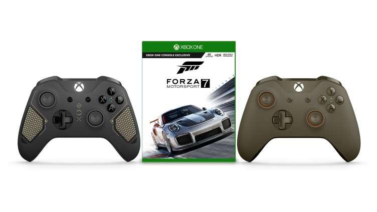 Manette Sans-fil Microsoft Xbox One Édition Spéciale Recon Tech ou Vert/Orange + Forza Motorsport 7