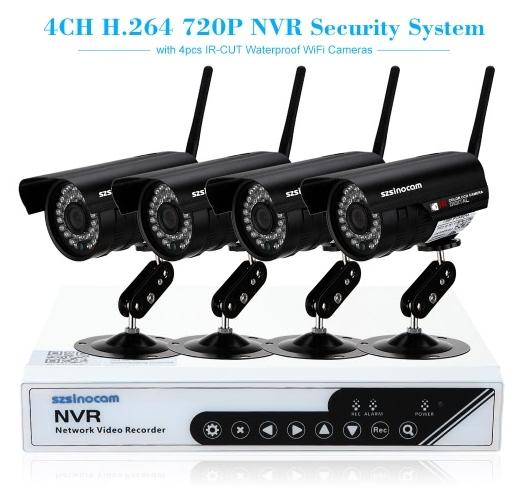 Système de sécurité connecté Szsinocam 4CH - avec 4 caméras sur IP HD 720p + contrôleur (frais de port inclus)