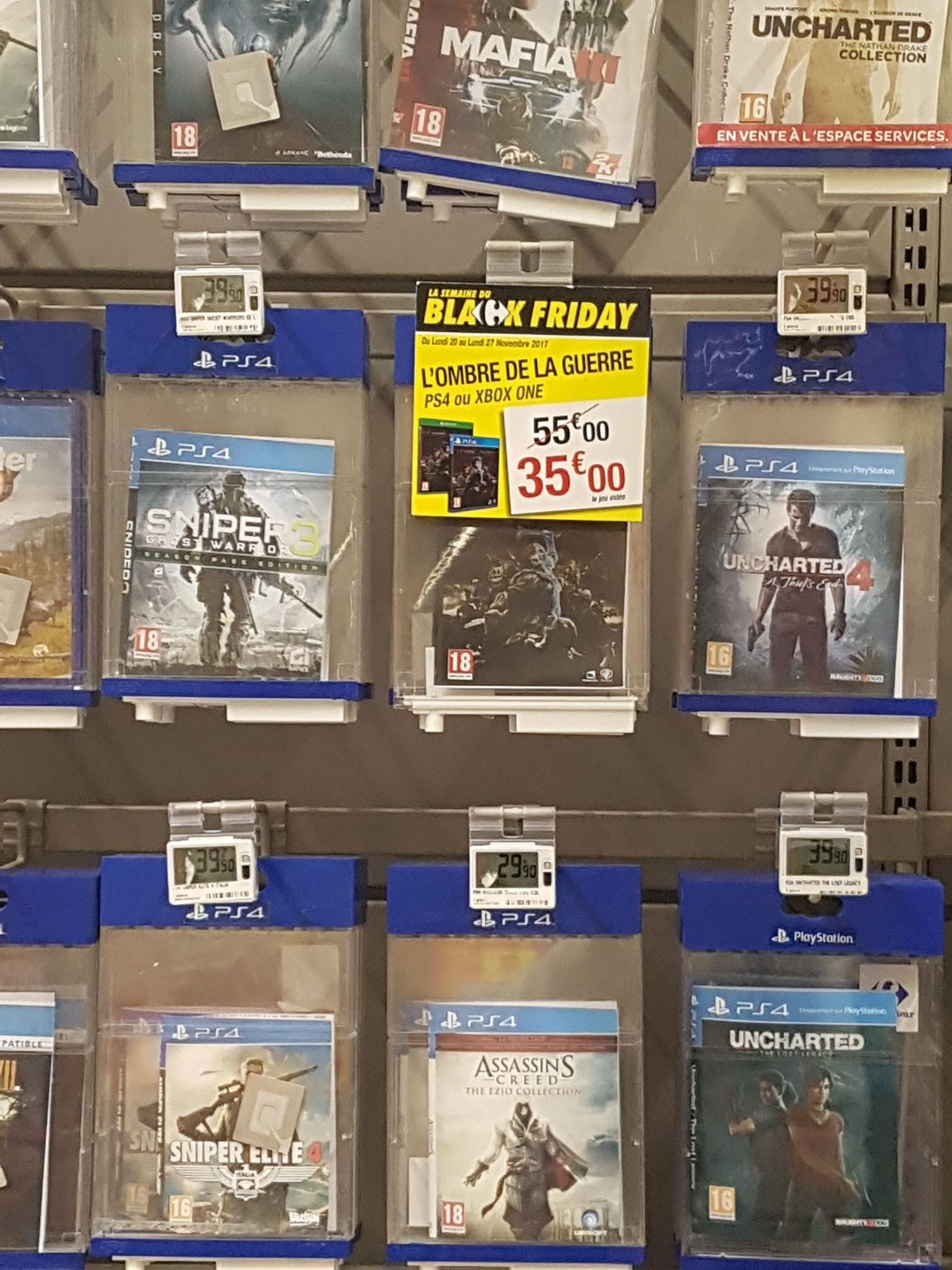 Sélection de jeux PS4 ou Xbox One en promotion - Ex : L'ombre de la guerre sur PS4 - Carrefour Drancy (93)