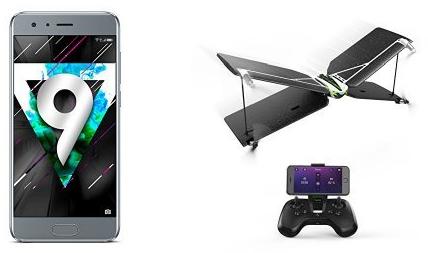 """Smartphone 5.15"""" Honor 9 - Full HD, Kirin 960, 64 Go ROM, 4 Go RAM + Drone Parrot Swing (via ODR de 50€)"""