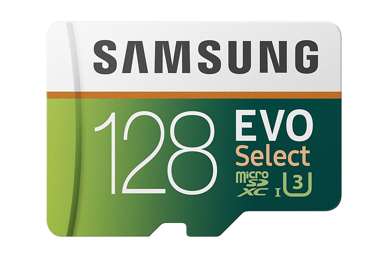 Carte microSDXC Samsung Evo Select U3 - 128 Go + Adaptateur SD ( Frais de douanes inclus)