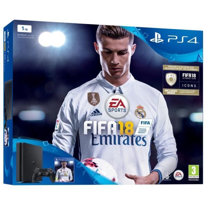 Console Sony PS4 1To + Fifa 2018 + Manette supplémentaire (avec 40€ en bons d'achat) - Frontaliers Belgique