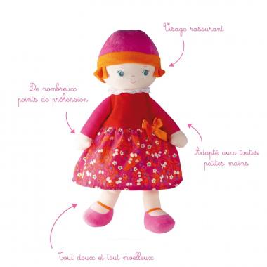 """Peluche naissance 33 cm """"Lili Cerise"""""""