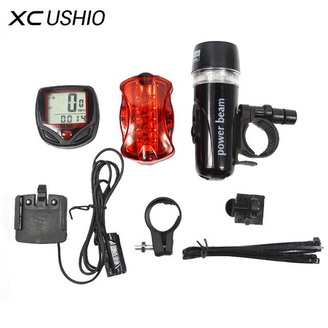 Ensemble compteur + éclairage vélo - 5 LED