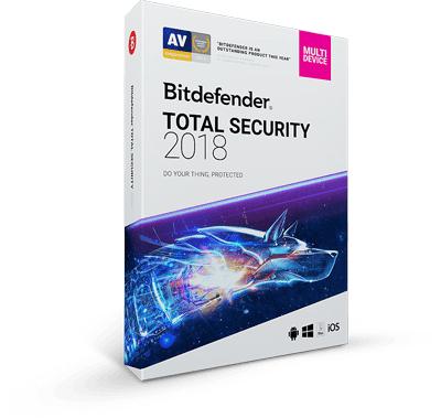 Antivirus Bitdefender 2018 - Total Security (5 appareils / 1 An) à 29.99€ ou Family Pack (Appareils Illimités / 1 ans) à 40€