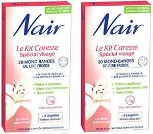 Nair - Kit Caresse Spécial Visage - 20 Mono-bandes de Cire Froide - Lot de 2
