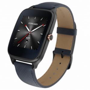 Montre connecté Asus ZenWatch 2 - Bracelet en cuir, bleu et noir