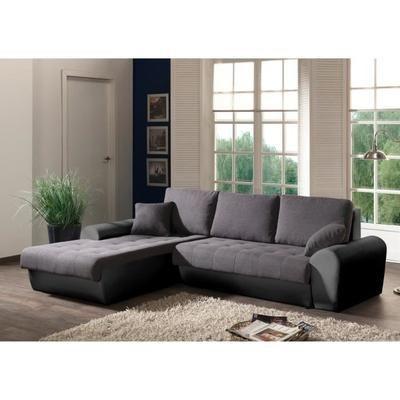 Canapé d'angle Cloe gauche convertible 4 places - Tissu gris et simili noir