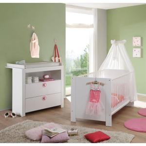 Ensemble lit bébé + commode avec plan à langer - Rose ou Bleu