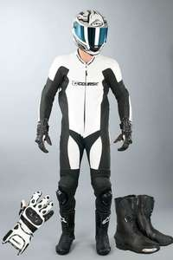 Combinaison cuir moto Alpha Pro blanc + Gants + Bottes