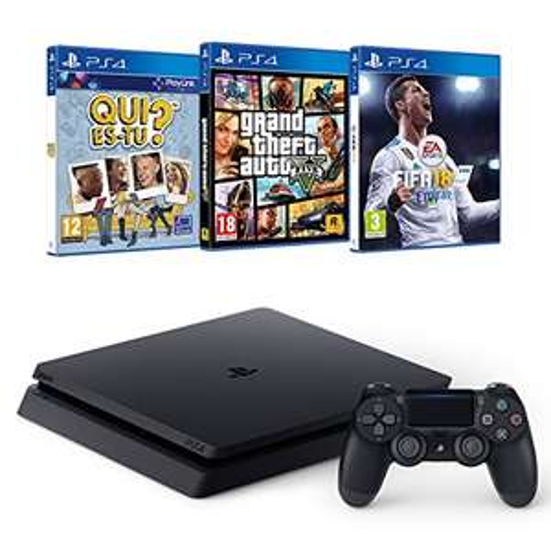 Pack Console PS4 - 500 Go + FIFA 18 + GTA V + Qui es-tu?