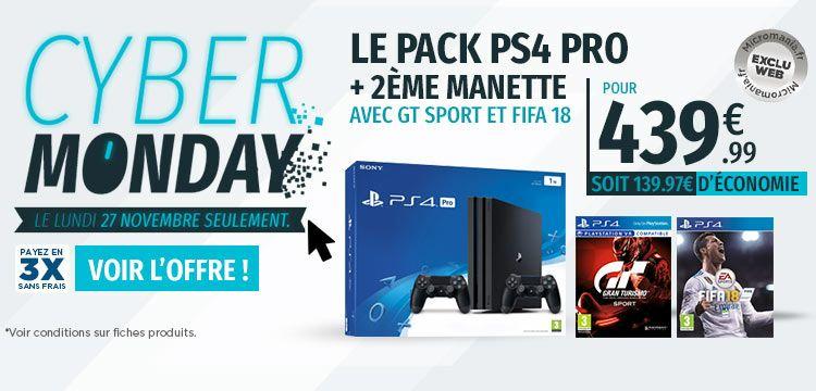 Pack PS4 Pro 1 To noire + 2éme manette + Qui es-tu? + Fifa 18 + Gran turismo Sport + 9.99€ de FUT