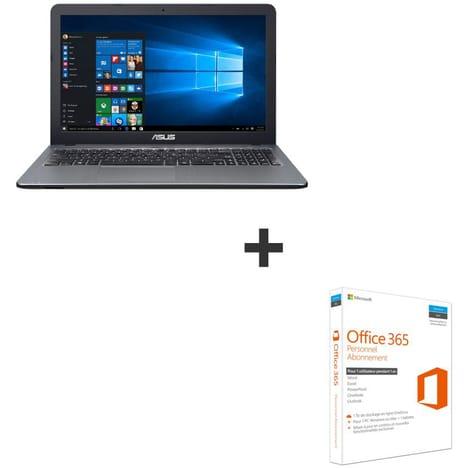 """Pc portable 15.6"""" HD Asus  R540LJ-XX858T (i3-5005U,4 Go RAM, 128 Go SSD + 1 To HDD, GT920M, Windows 10)   Silver & Office 365 Personnel abonnement 1 an Offert"""