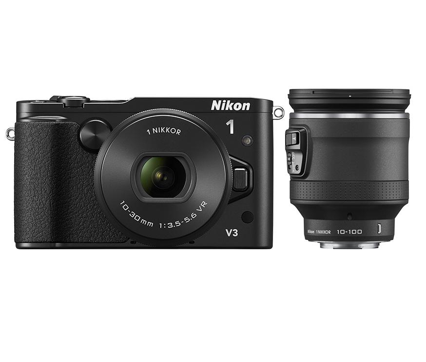 Hybride Nikon 1 V3 + 2 objectifs (10-30mm et 10-100mm)