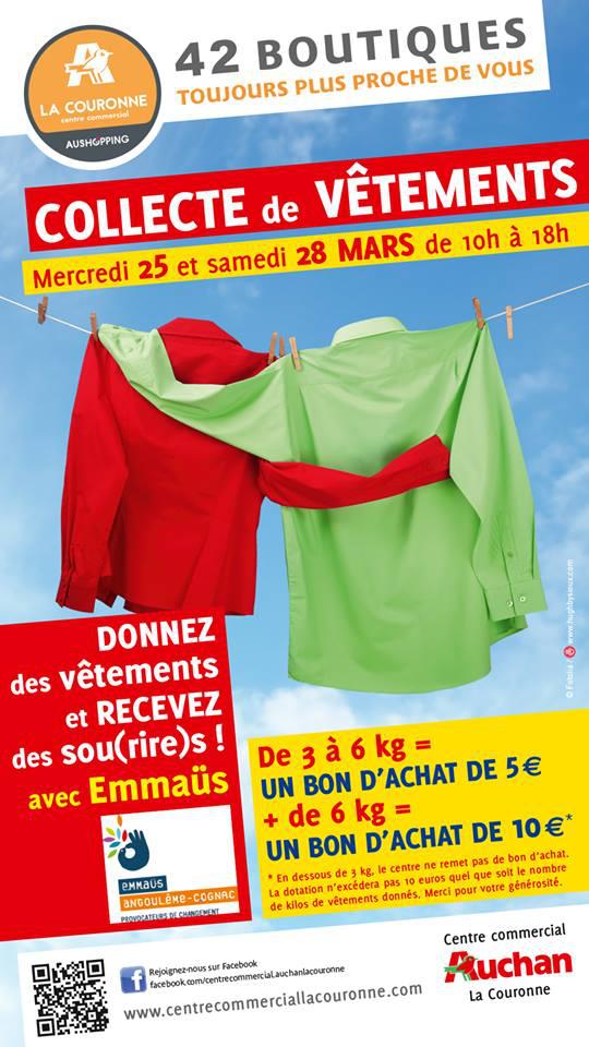 Bon d'achat de 5€ ou 10€ offert en échange de 3 à 6 kg ou + de vêtements d'occasion
