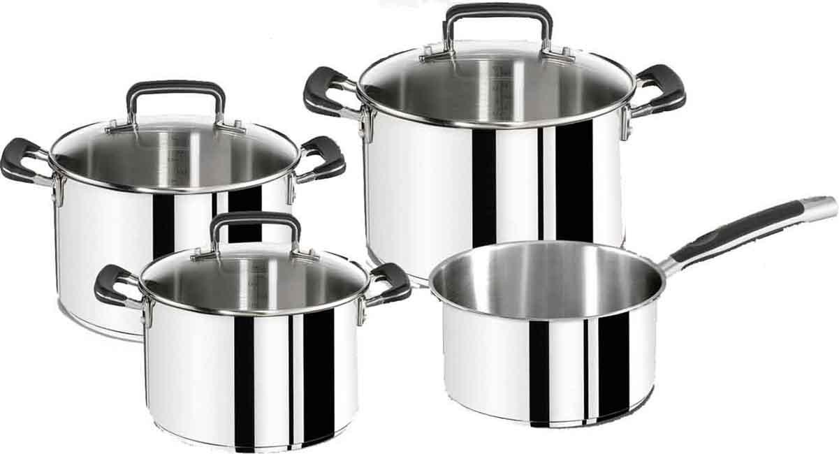 Set 4 pièces inox Tefal Gourmet Series (3 faitouts + 1 casserole)