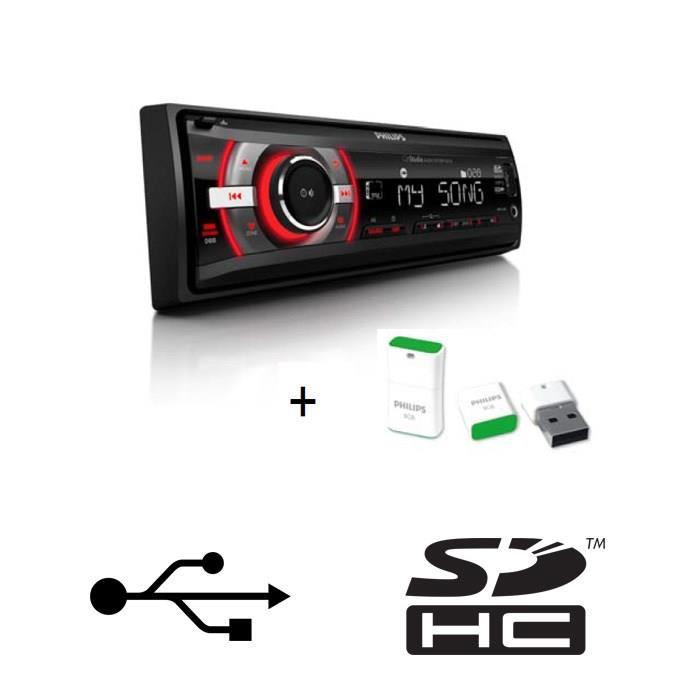 Autoradio Philips CE133 200W + Clé USB 8 Go