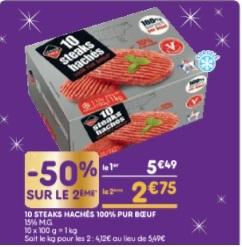 20 Steak Hachés 100% pur bœuf - 20 X 100Gr