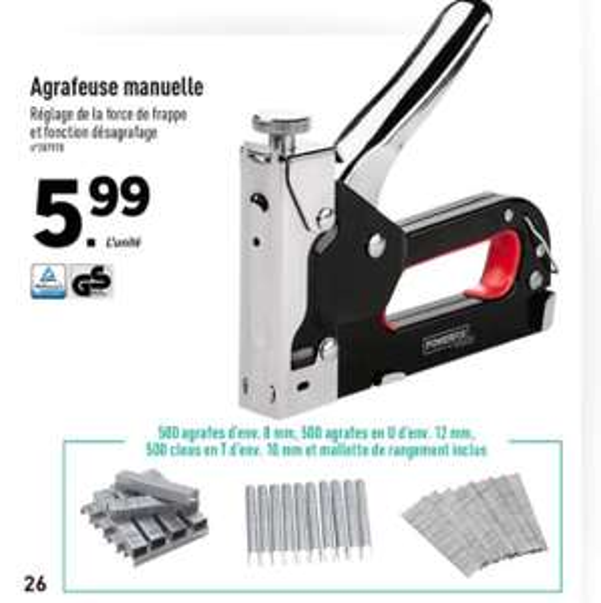 Agrafeuse Manuelle Powerfix + 500 agrafes (8mm) + 500 agrafes en U (12mm) + 500 clous en T (10mm)