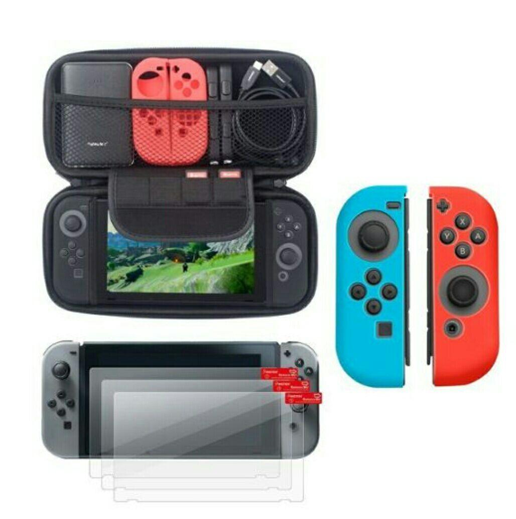 1 Paire De Coques En Silicone Bleu/Rouge pour Joycons + Étui Housse De Transport Noir + 3x Films De Protection Écran Pour Nintendo Switch