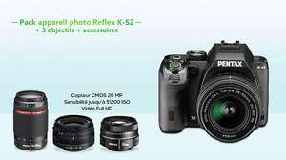 Reflex Pentax K-S2 + 3 objectifs (18-50 WR + 55-300 WR + 50 mm f/1.8) + accessoires
