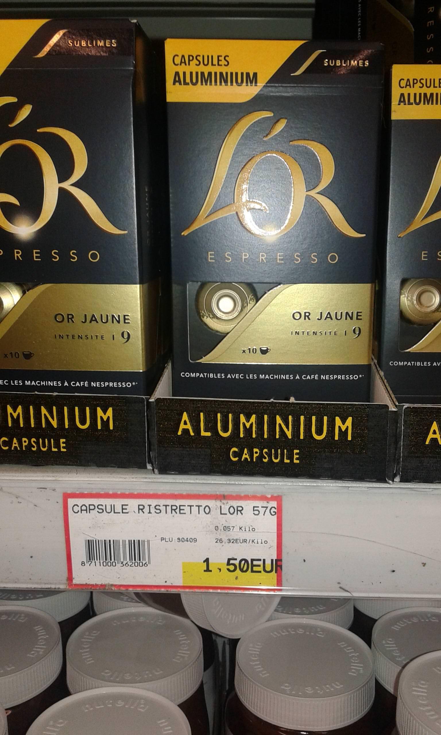 Paquet de 10 capsules de café L'Or Expresso Ristretto - or jaune, intensité 9 chez H-Market Aulnay-sous-Bois (93)