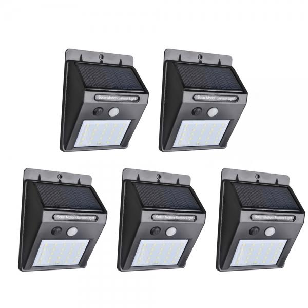 Lot de 5 lampes solaires étanches avec détection de mouvements (25 LED)