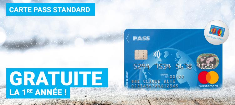 Carte Pass Standard Mastercard gratuite (au lieu de 14€) la première année