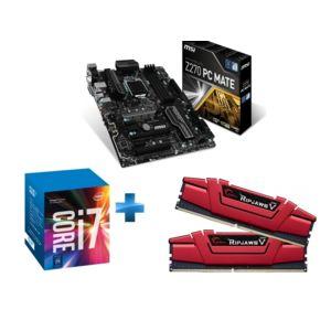 Kit évolution : Processeur Intel i7-7700K + Carte mère MSI Z270 PC MATE + Kit mémoire RAM G.Skill RipJaws V 16 Go