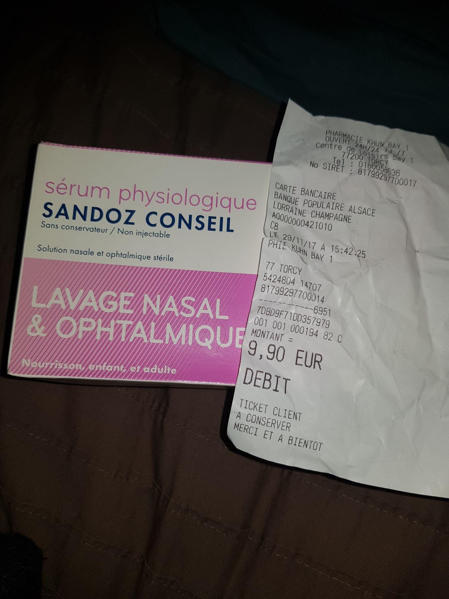 Boîte de 40 doses de sérum physiologique Sandoz Conseil à la Pharmacie Khun Bay 1 Torcy (77)