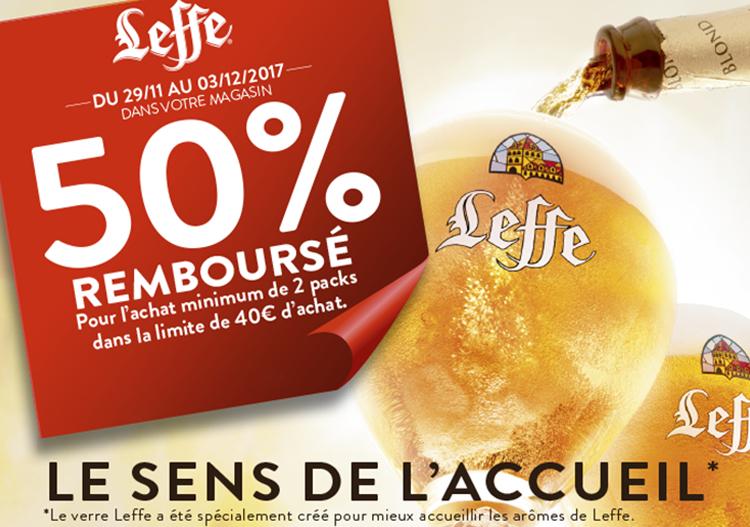 50% remboursé pour l'achat minimum de 2 Packs de bières Leffe (x25cl et/ou x33cl) dans la limite de 40€ d´achat (via ODR) (Tous les marchands)