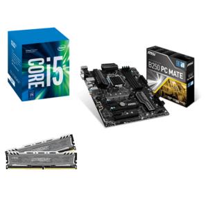 Kit d'évolution - processeur Intel Core i5-7500 (3.4 GHz) + carte mère MSI B250 PC Mate + RAM Ballistix Sport LT CL16-2400 - 8 Go (2x4)