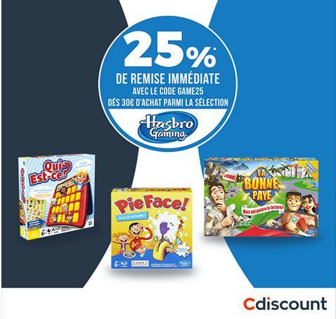 25% de réduction dès 30€ d'achat parmi une sélection de jeux de société Hasbro