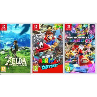 [Adhérents] Lot de 3 jeux sur Nintendo Switch : Zelda + Mario Odyssey + Mario Kart (+ 30€ sur la carte)